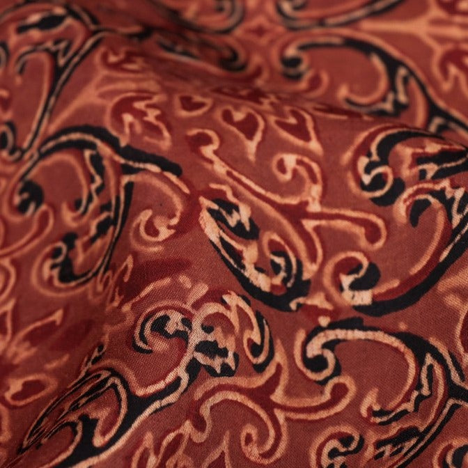 Sufiyan Khatri Special Modal Silk Ajrakh Hand Block Print Natural Dyed Fabric