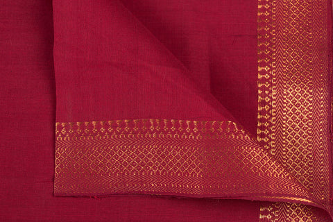 Red - Original Mangalgiri Pure Handloom Cotton Fabric with Big Zari Border