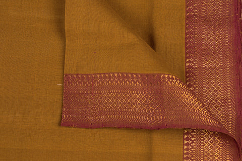 Ochre Yellow - Original Mangalgiri Pure Handloom Cotton Fabric with Big Zari Border