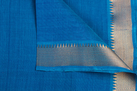 Cobalt Blue - Original Mangalgiri Pure Handloom Cotton Fabric with Big Zari Border