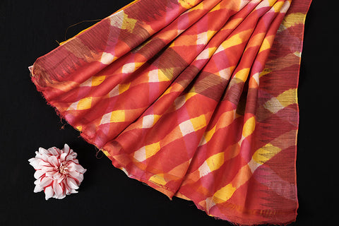Multicolor Original Leheria Tie Dye Printed Maheshwari Silk Handloom Ghicha Border Saree with Blouse