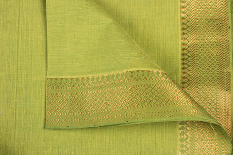 Olive- Original Mangalgiri Pure Handloom Cotton Fabric with Big Zari Border