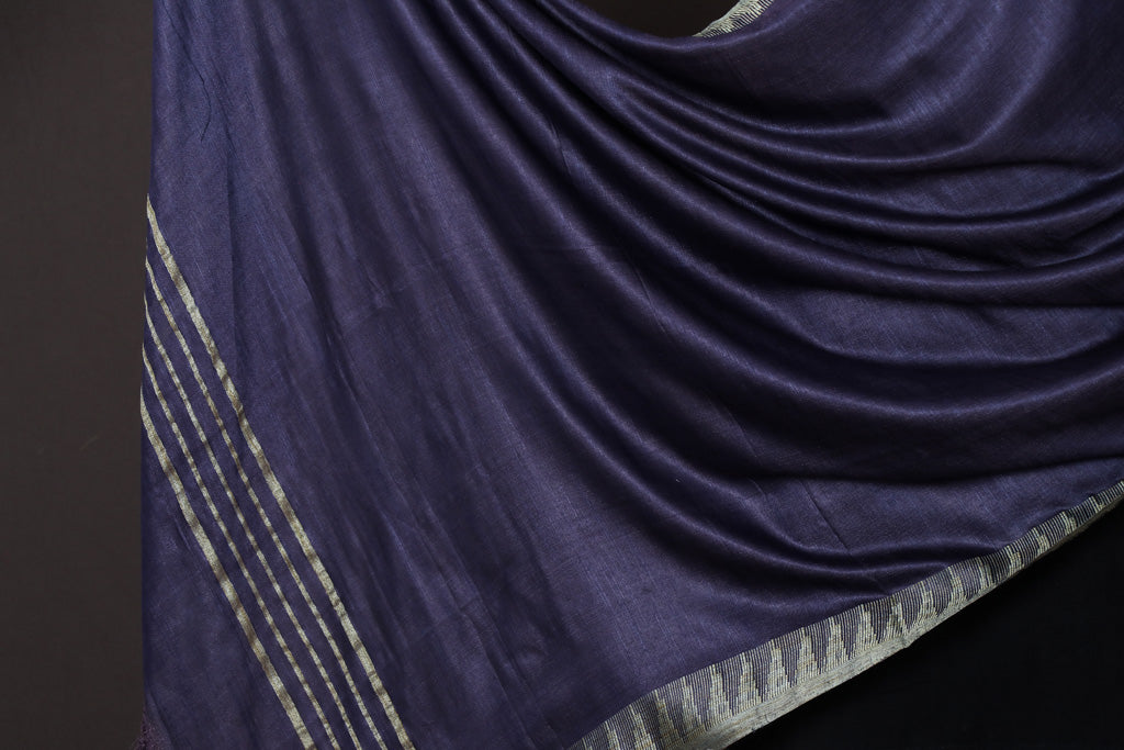 Ink Blue - Mulberry Silk Handloom Dupatta with Tassels