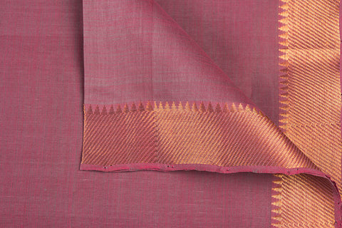 Onion Pink - Original Mangalgiri Pure Handloom Cotton Fabric with Big Zari Border