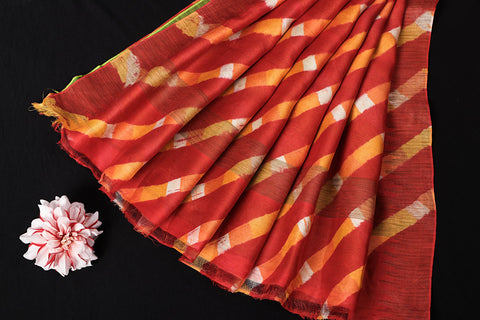 Red-Orange Original Leheria Tie Dye Printed Maheshwari Silk Handloom Ghicha Border Saree with Blouse