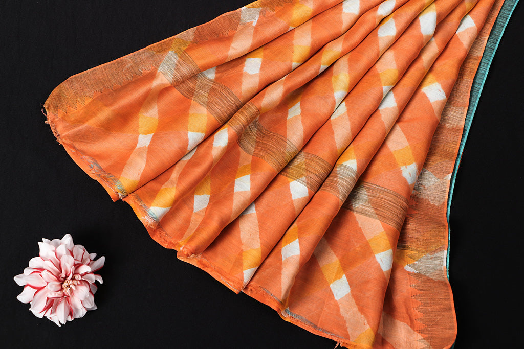 Orange-White Original Leheria Tie Dye Printed Maheshwari Silk Handloom Ghicha Border Saree with Blouse