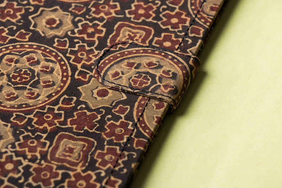 Block Printed Fabric Embellished File Folder