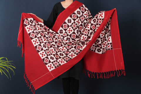 Telia Rumal Pochampally Double Ikat Cotton Handloom Dupatta