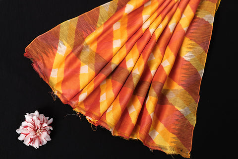 Orange-Yellow Original Leheria Tie Dye Printed Maheshwari Silk Handloom Ghicha Border Saree with Blouse