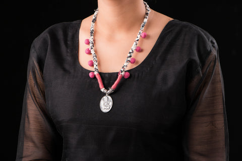 Magnolia Silver Necklace With Cotton Thread Dori