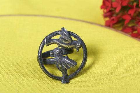 Antique Silver Finish Oxidized Special Brass Base Ring