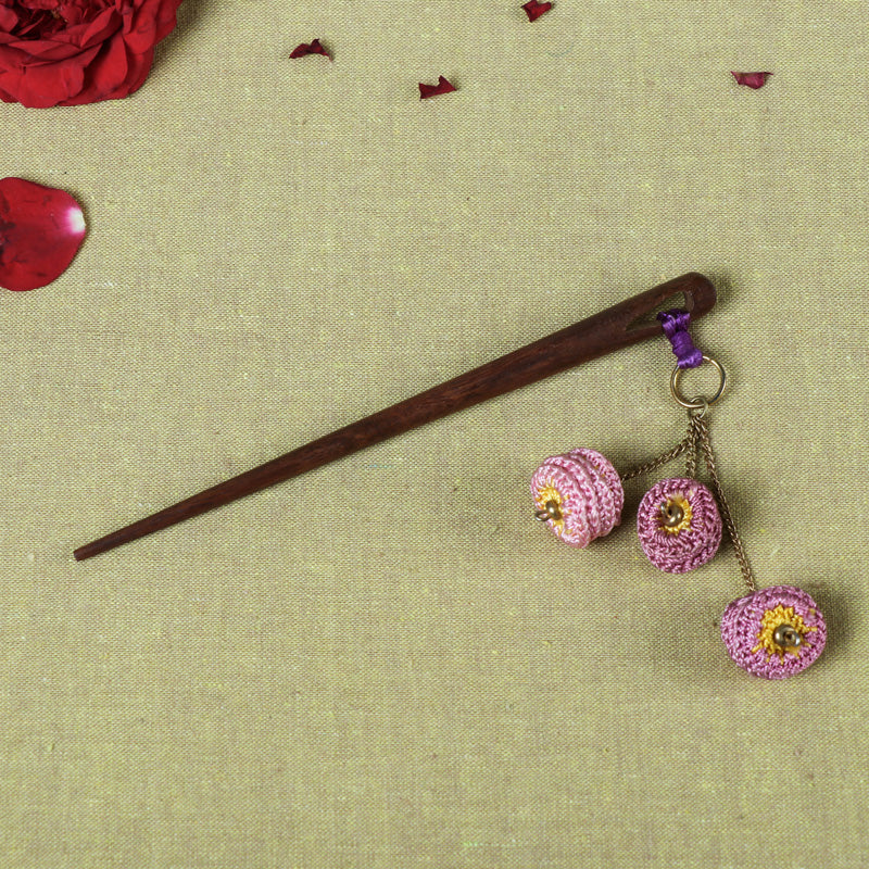 Handmade Flower Crochet Wooden Juda Stick