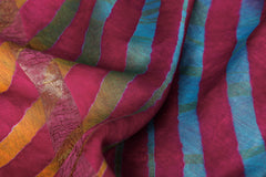 Multicolor Original Leheria Tie Dye Printed Maheshwari Silk Handloom Zari Border Saree with Blouse
