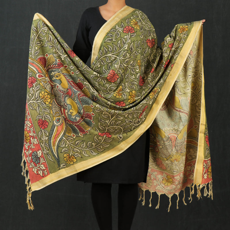 Special Kalam Work Kalamkari Fine Handpainted Handloom Mangalgiri Cotton Dupatta with Zari Border