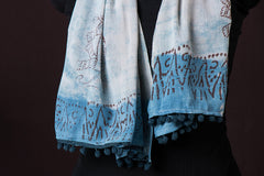 Hand Block Printed Soft Cotton Stole with Pom Pom