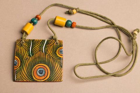 Handpainted Necklace with Kerala Mural Art