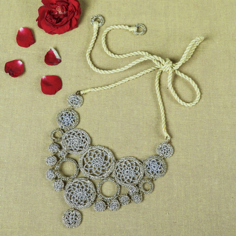Handmade Flower Silver Metallic Thread Crochet Necklace