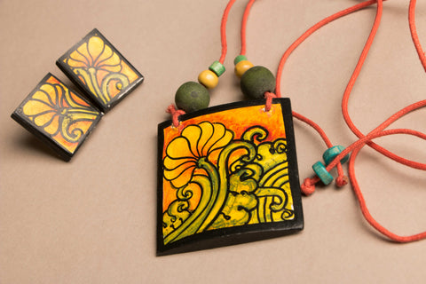 Handpainted Necklace Set with Kerala Mural Art