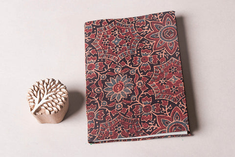 Ajrakh Fabric Cover Handmade Ruled Paper Diary ( 5in x 7in )