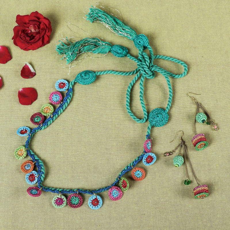 Handmade Flower Crochet Necklace Set