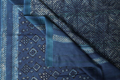 Traditional Akola Hand Block Print Handloom Chanderi Silk Saree with Zari