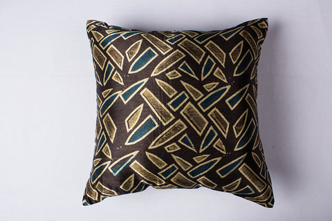 Ajrakh Block Print Mashru Silk Cushion Cover (16in x 16in)