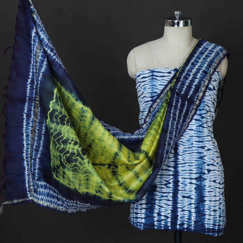 Shibori Tie-Dye Cotton 3pc Suit Material Set with Chanderi Silk Dupatta