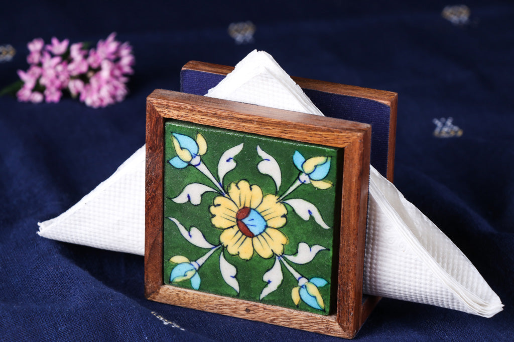 Original Blue Pottery Ceramic Sheesham Wood Napkin Holder