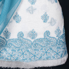 2pc Chikankari Mukaish Hand Embroidered Kota Doria Suit Material Set