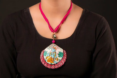 Patachitra Handpainted Sea Shell Necklace - Krishna
