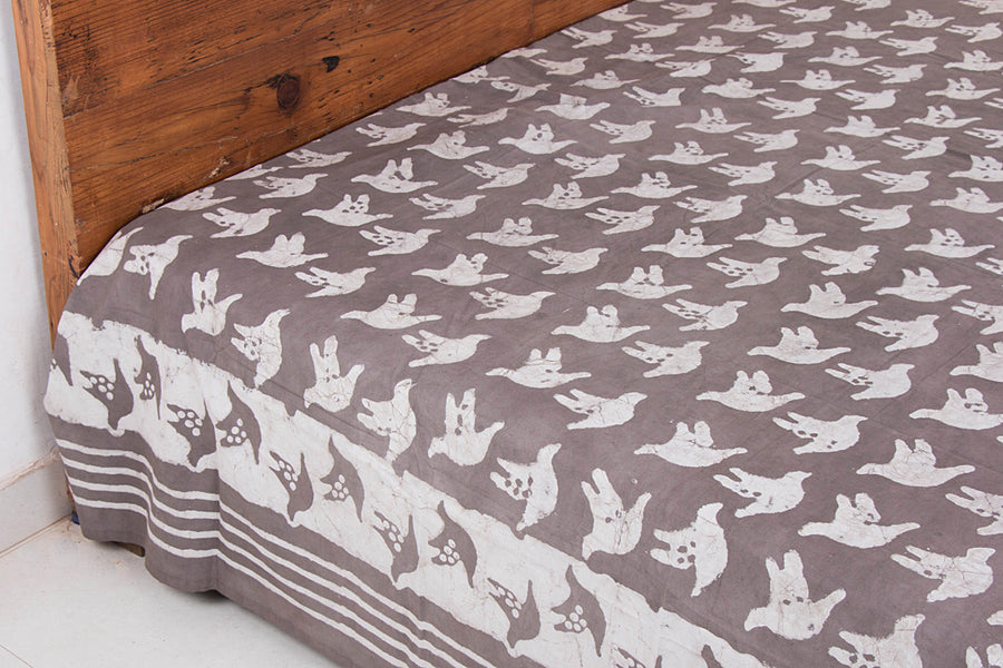 Block Art Prints Natural Dyed Cotton Double Bedcover by Bindaas Unlimited (110 x 98 inches)