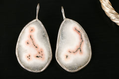 Textured White Natural Stone Silver Earring