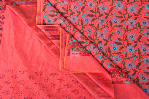 Bengal Handloom Block Printed Chanderi Silk Kantha Work Saree