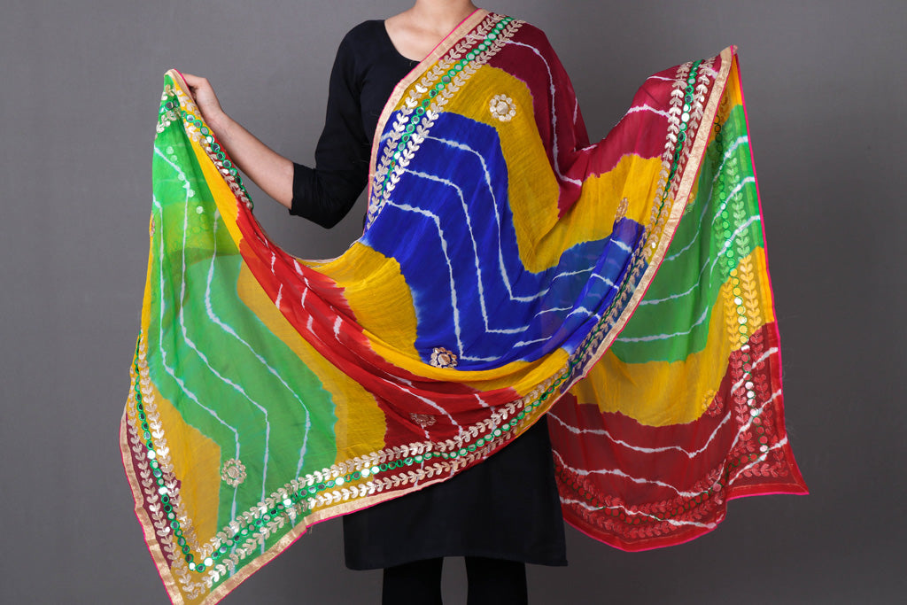 Jaipur Printed Leheria Chiffon Dupatta with Gota Patti