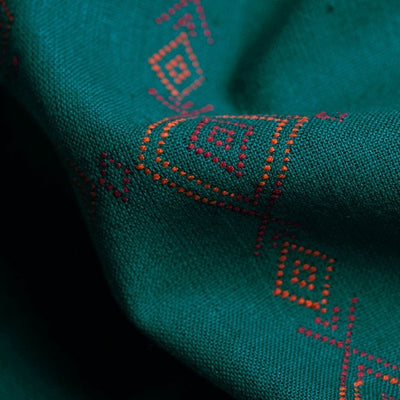 Kashida Stitch Pure Handloom Cotton Kurta Material by Urmul