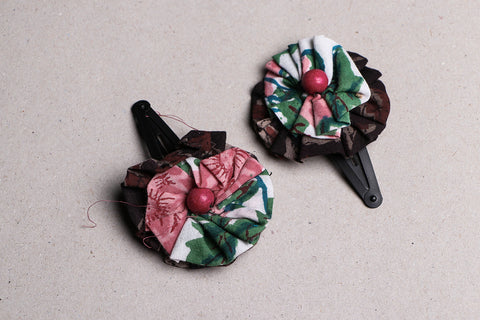 Black Metal Tik-tak Flower Hair Clips (set of 2)