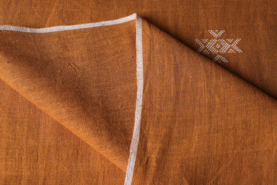 Organic Kala Cotton Pure Handloom Rust Yellow Chaumukh Fabric