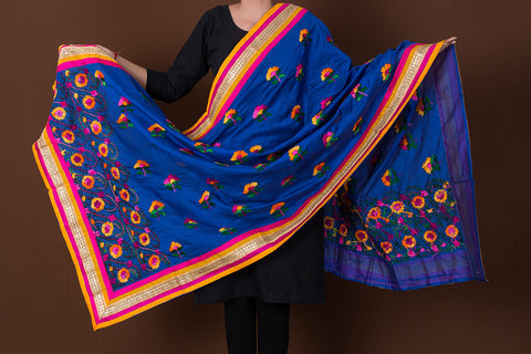 Ranihati Howrah Printed Silk Cotton Tagai Work Dupatta with Gota Patti Border