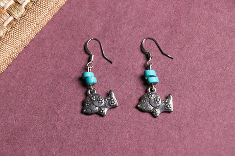 Handmade German Silver Bead Work Earrings