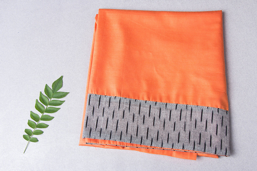Vidarbha Pure Tussar Cotton Handloom Blouse Piece with Ikat Border
