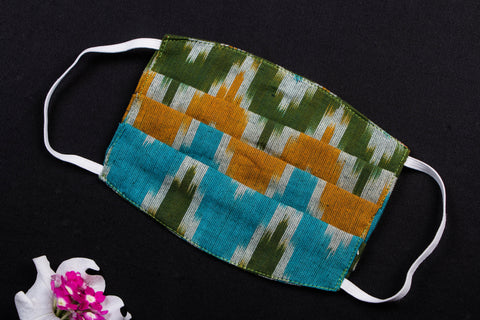 Snug Fit Pleated Pochampally Ikat Cotton Fabric Face Mask