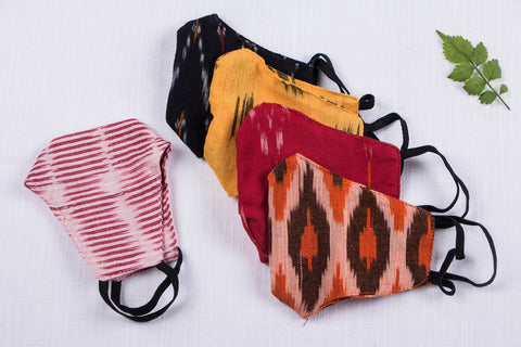 Kids - Set of 5 - Pochampally Ikat Snug Fit 2 Layer Cotton Fabric Face Mask