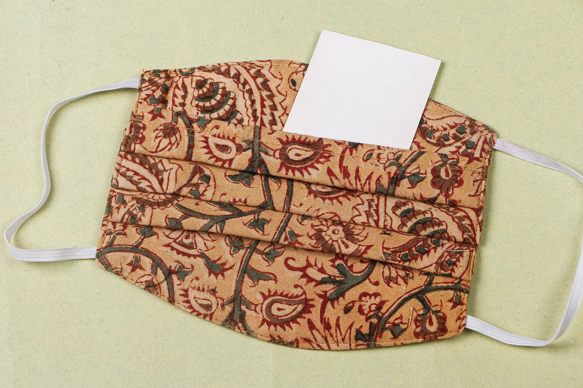 3 Layer Kalamkari Natural Dyed Cotton Fabric Pleated Face Cover with Filter Pocket