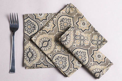 Rang Bahar Ajrakh Print Cotton Table Napkins (Set of 6)