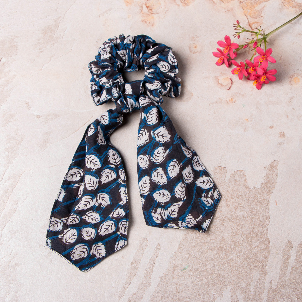 Block Print Cotton Elastic Hair Bands/Scarf Ponytail Holder/Scrunchy Ties