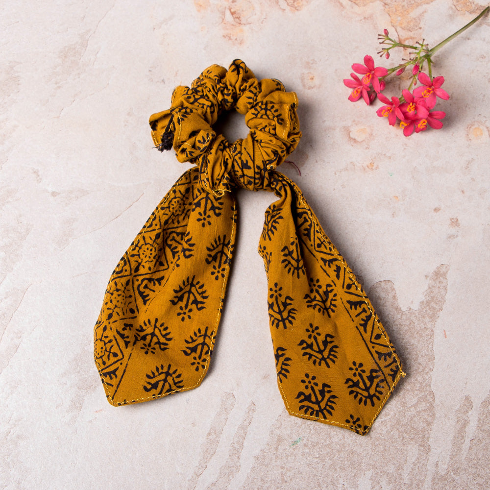 Bagh Print Cotton Elastic Hair Bands/Scarf Ponytail Holder/Scrunchy Ties