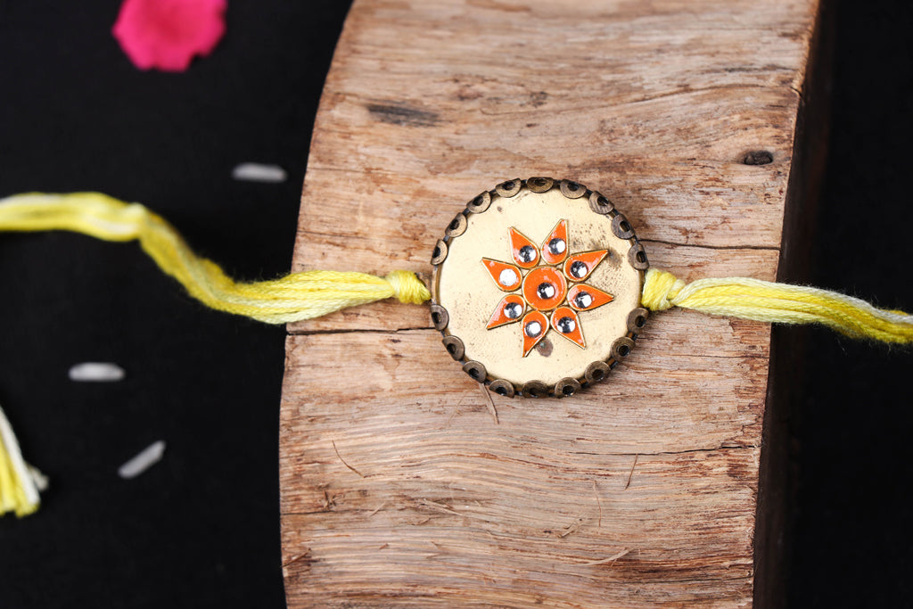 Handmade Copper Flower Rakhi