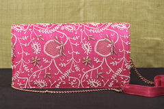 Lucknow Chikankari Hand Embroidered Tussar Silk Clutch
