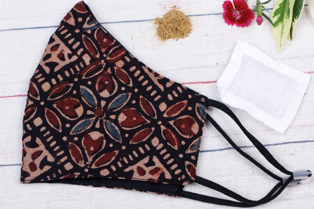 ` Herb Pocket Ajrakh Block Print Cotton Fabric 3 Layer Snug Fit Face Cover