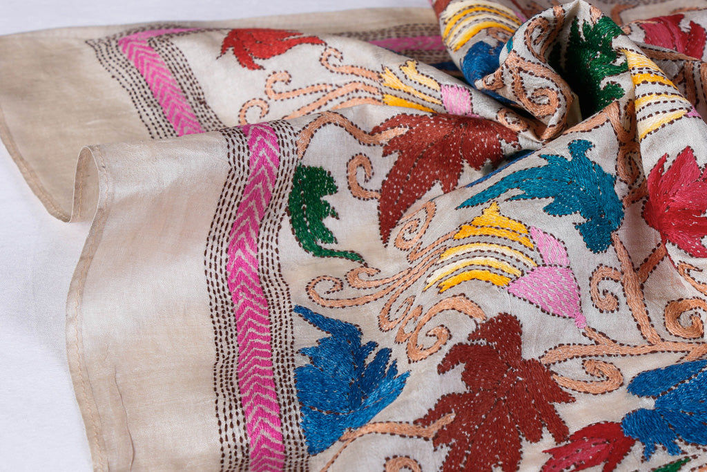 Authentic Bengal Kantha Embroidered Pure Tussar Silk Handloom Dupatta